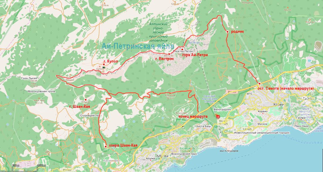 карта пешеходного маршрута по горе Ай-Петри крым