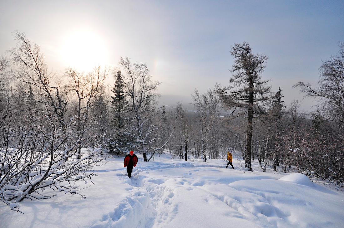 тропинка на вершину Александровская сопка фото зимой