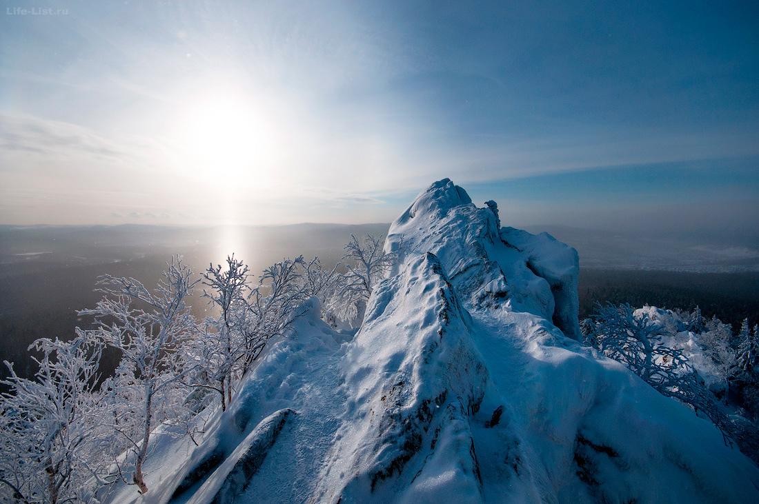 вершина Александровской сопки зимой Южный урал