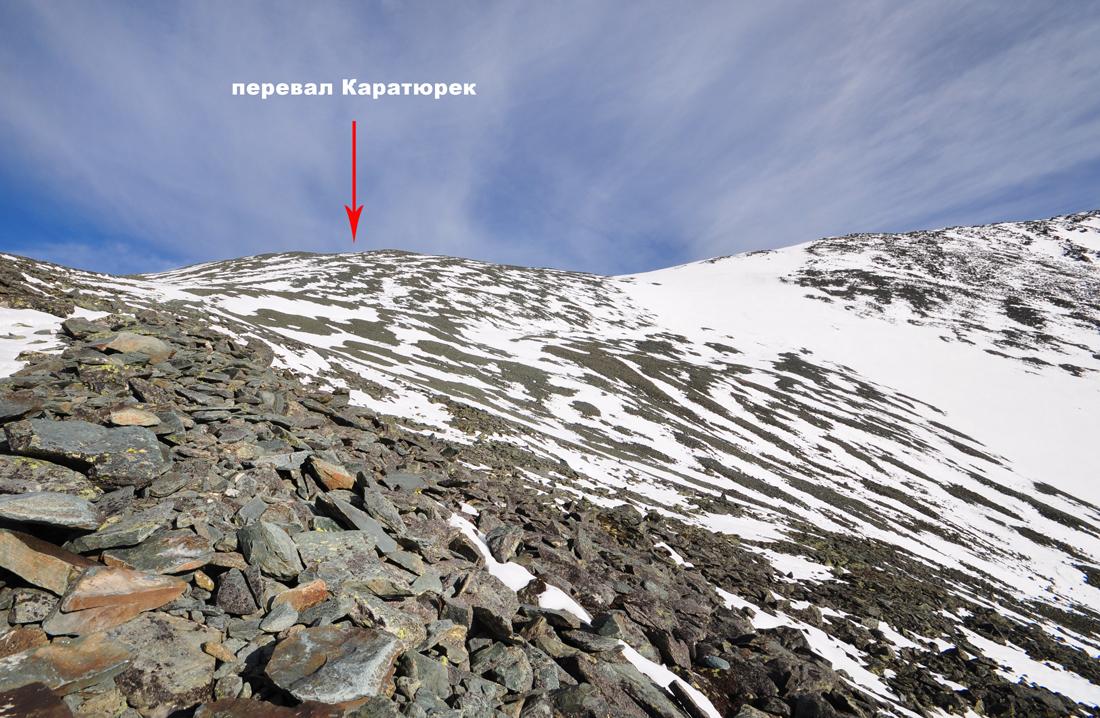Подъем на перевал Каратюрек со стороны Кучерлинского озера