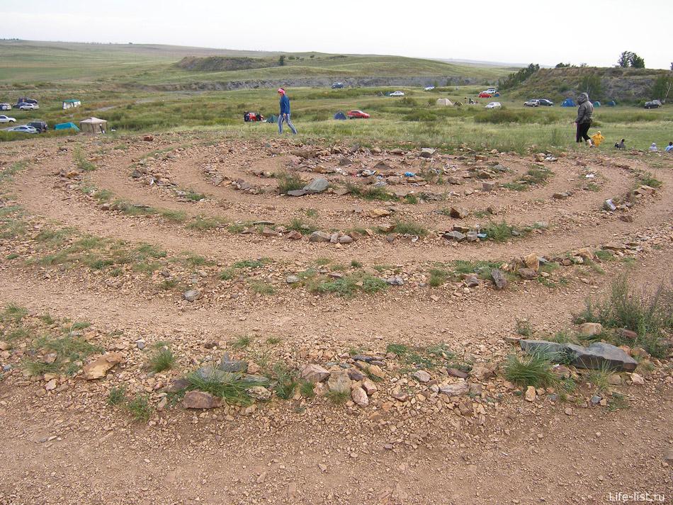 Спираль из камней на горе Шаманке. По ней ходят люди и загадывают желания