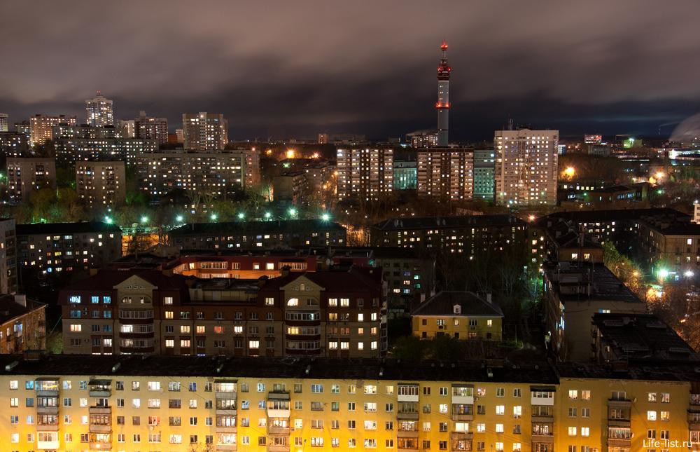 Ночной Екатеринбург вид на пионерский поселок