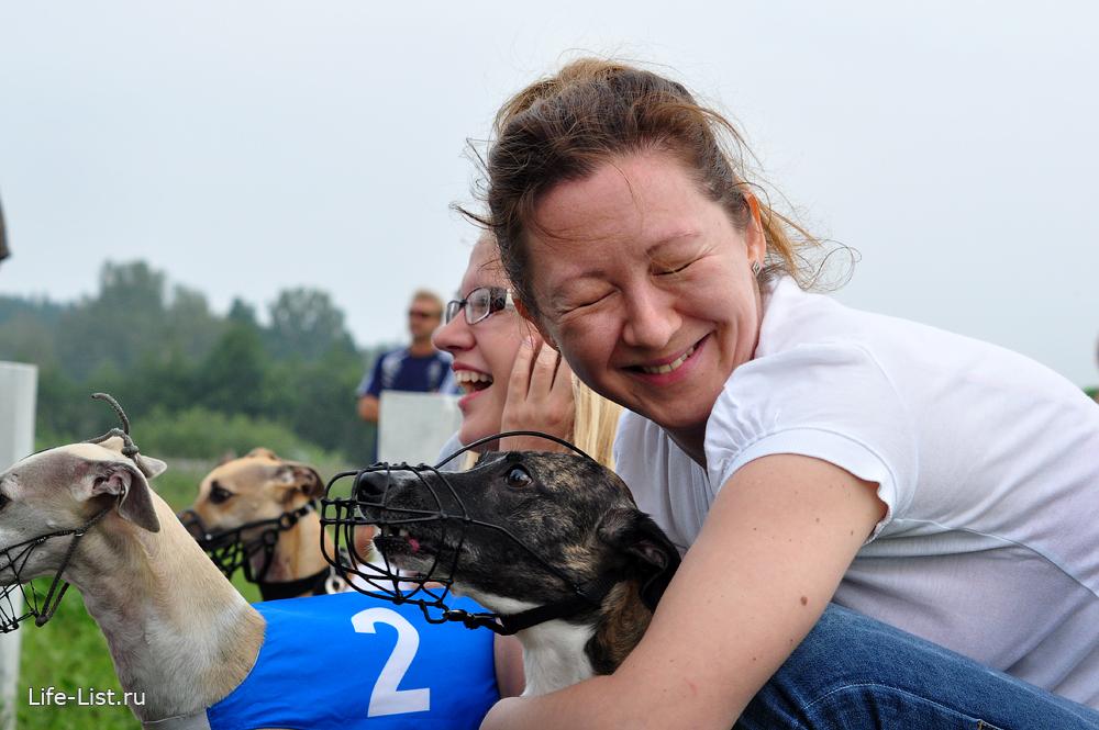 уиппет и хозяйка эмоциональное фото на собачьих бегах