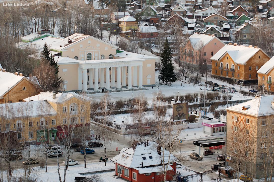Дегтярск с высоты улица Калинина и дом Культуры