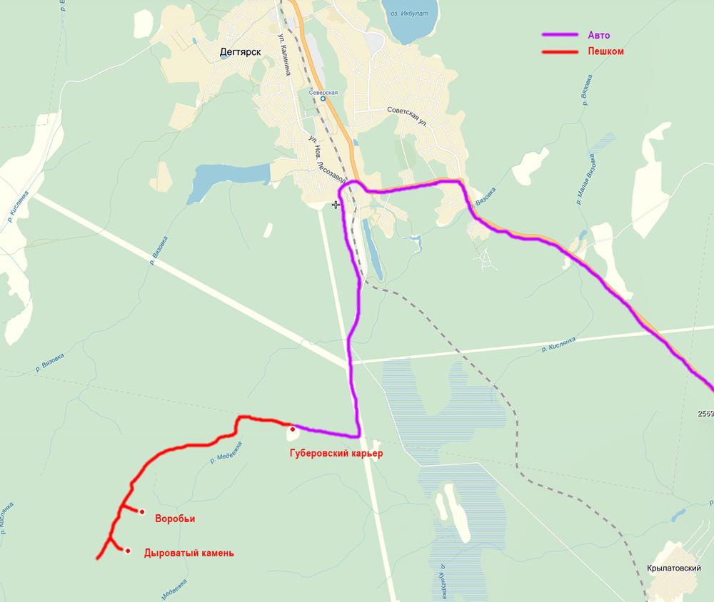 карта путь на Дыроватый камень