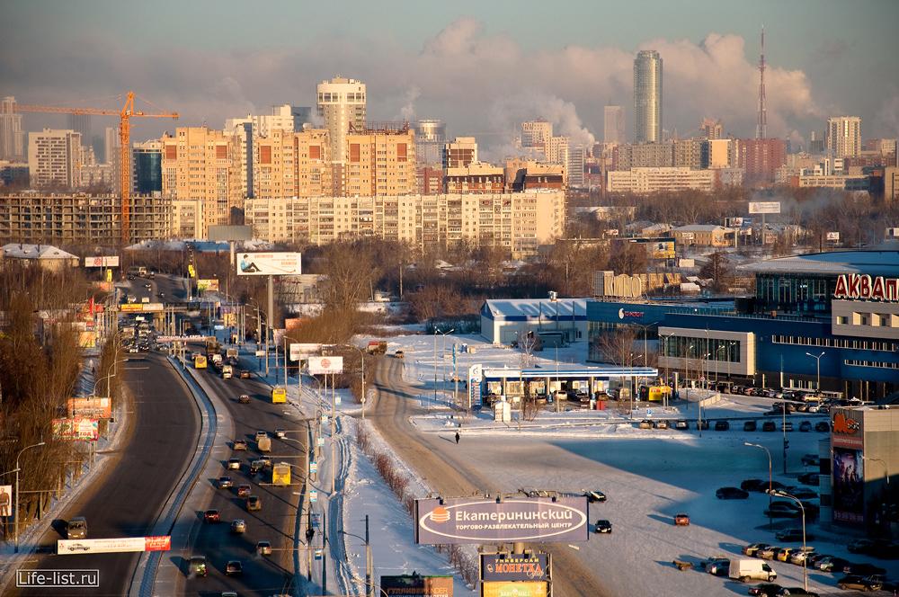 улица Щербакова Екатеринбург с высоты зима