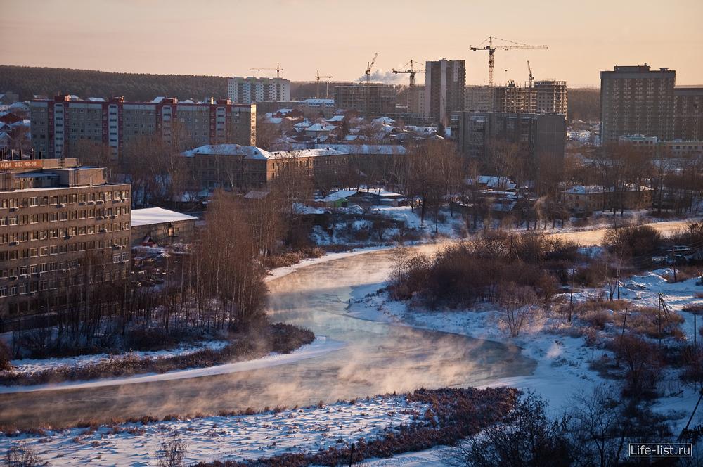 Река исеть зима парит фото с высоты