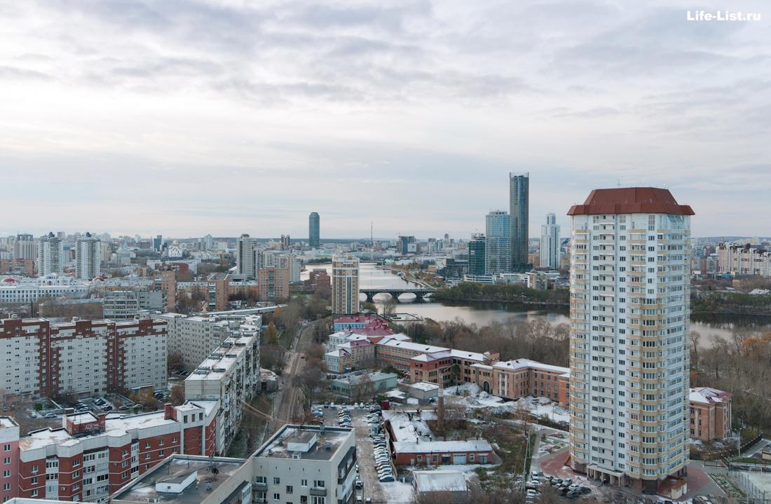 вид на городской пруд Екатеринбург фото с высоты
