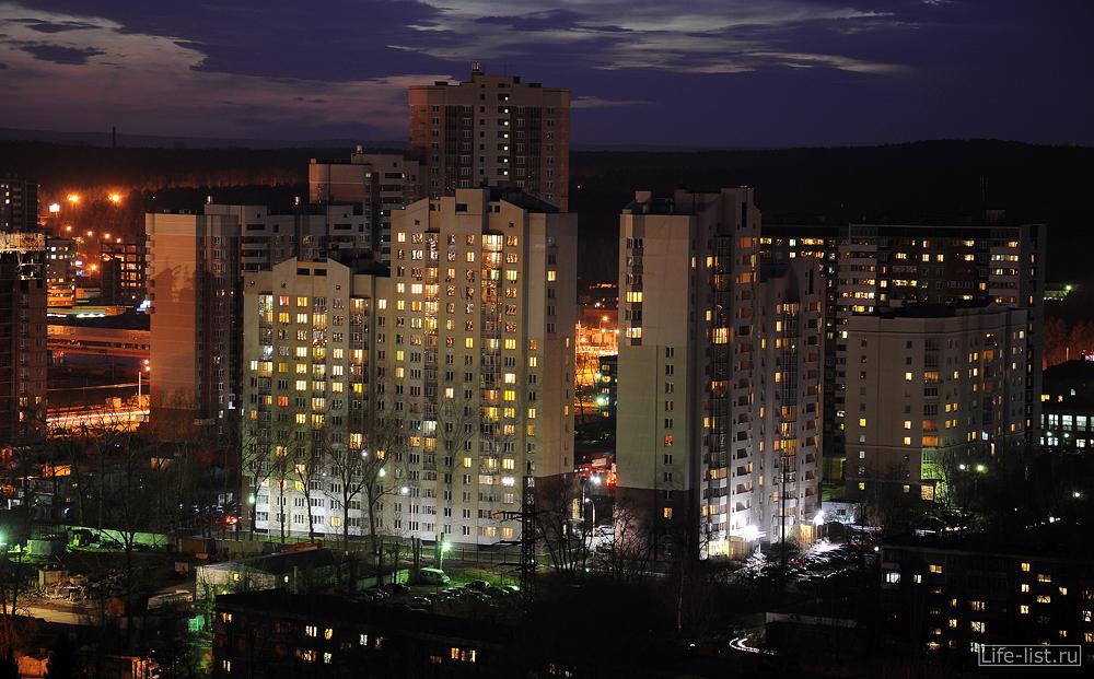 Ночной екб с высоты фото Виталий Караван спальный район