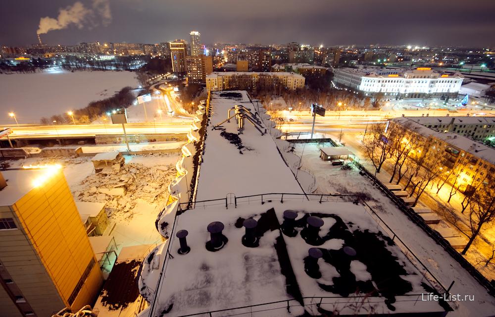 Вид на Екатеринбург с высоты ЕМЗ зернохранилище