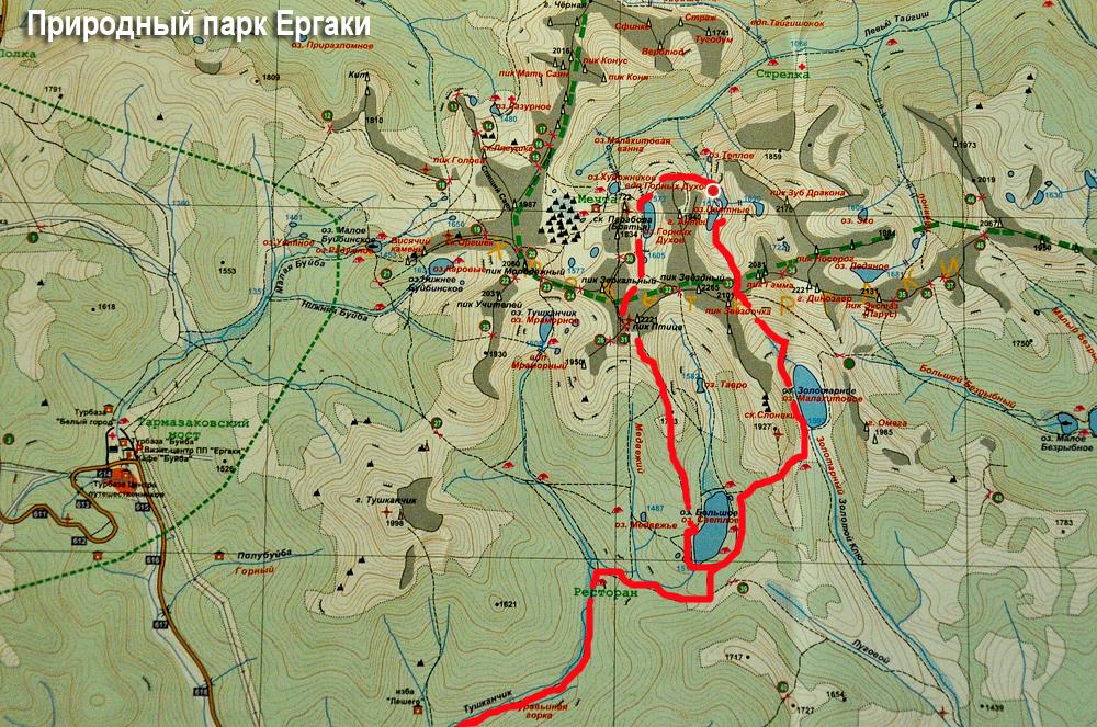 Карта природного парка Ергаки