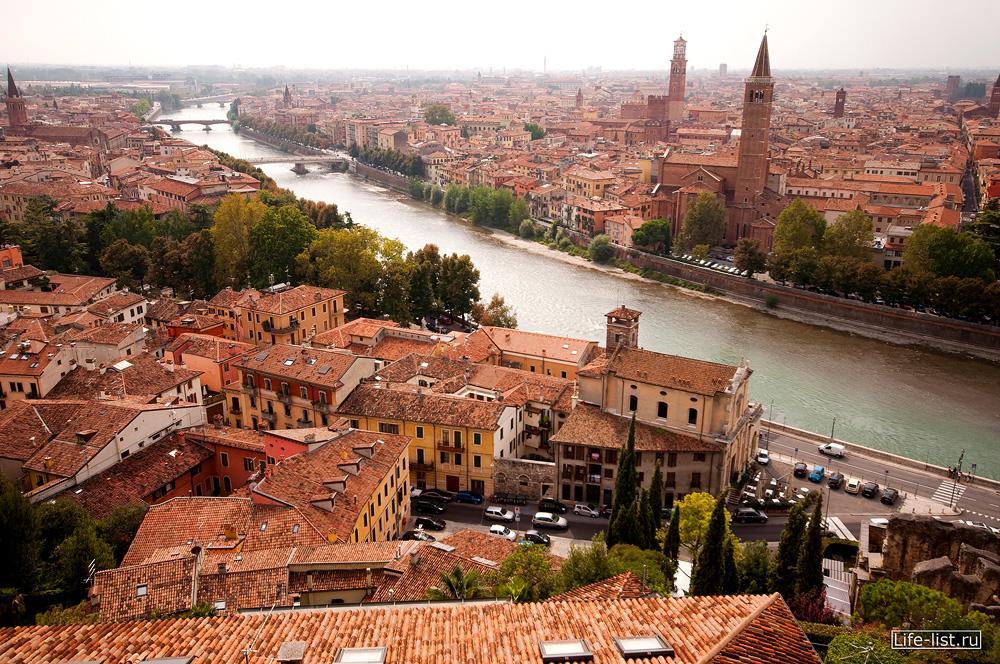 Верона вид с высоты на реку Адидже и город Verone
