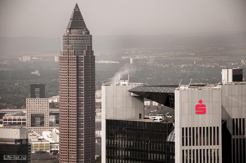 Небоскребы Франкфурта на Майне вид с высоты Трианон и небоскреб Мессетурм