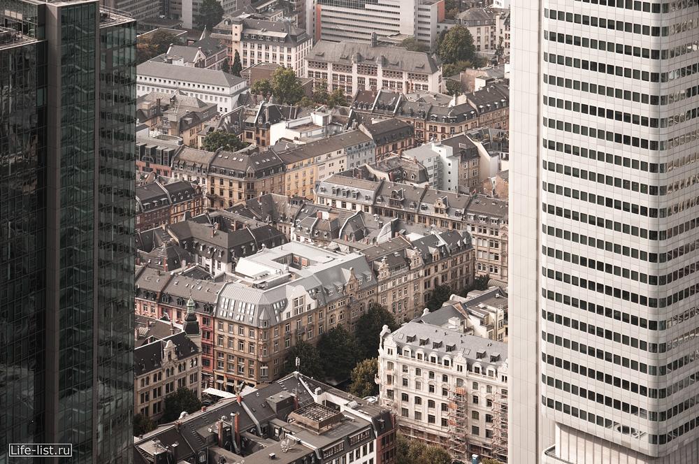 Франкфурт с высоты Башня Галлилео и Сильвер Тауэр