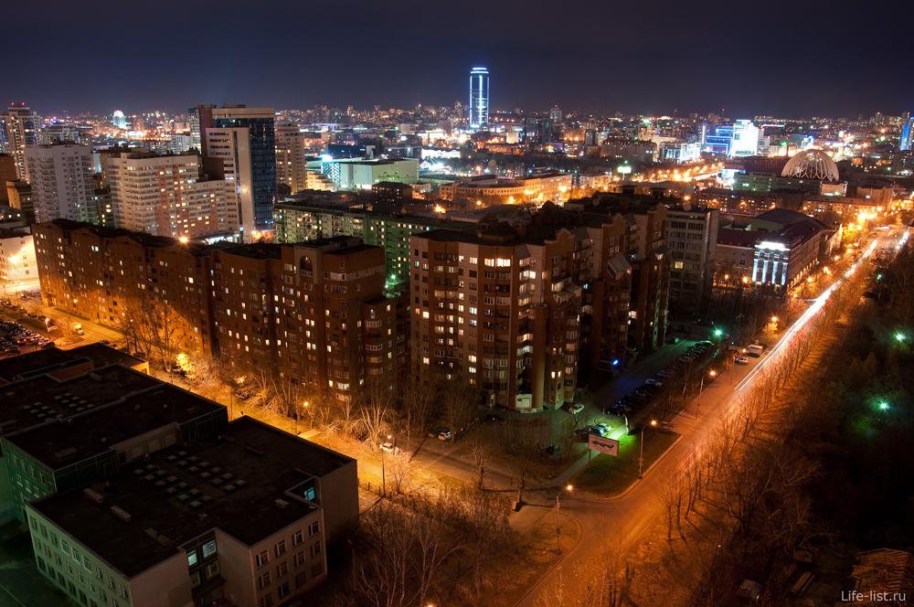 Екатеринбург с высоты вечер