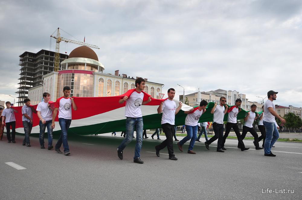 патриотический клуб путин Грозный несут флаг