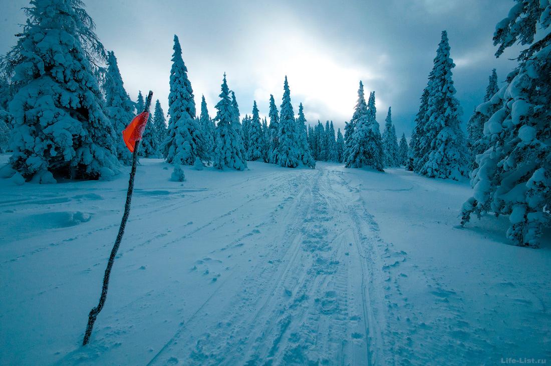 зимняя дорога на Иремель