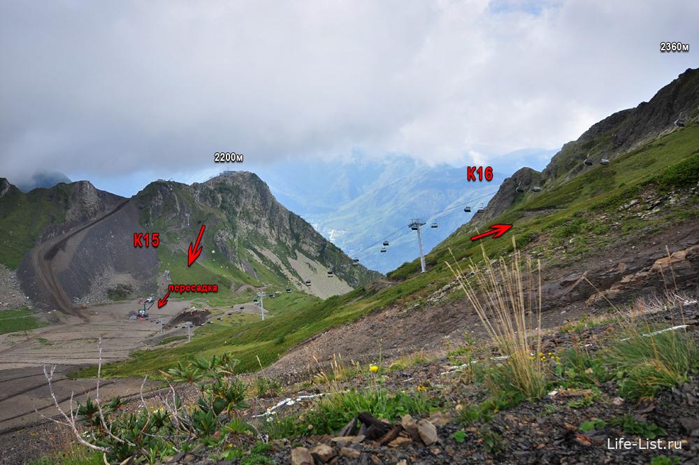 летняя схема канатной дороги К15 и К16 на Горной карусели Красная поляна гора Аибга цирк-2