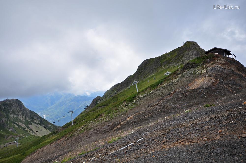 Вершина канатной дороги черная Пирамида вершина Аибга на Горной карусель