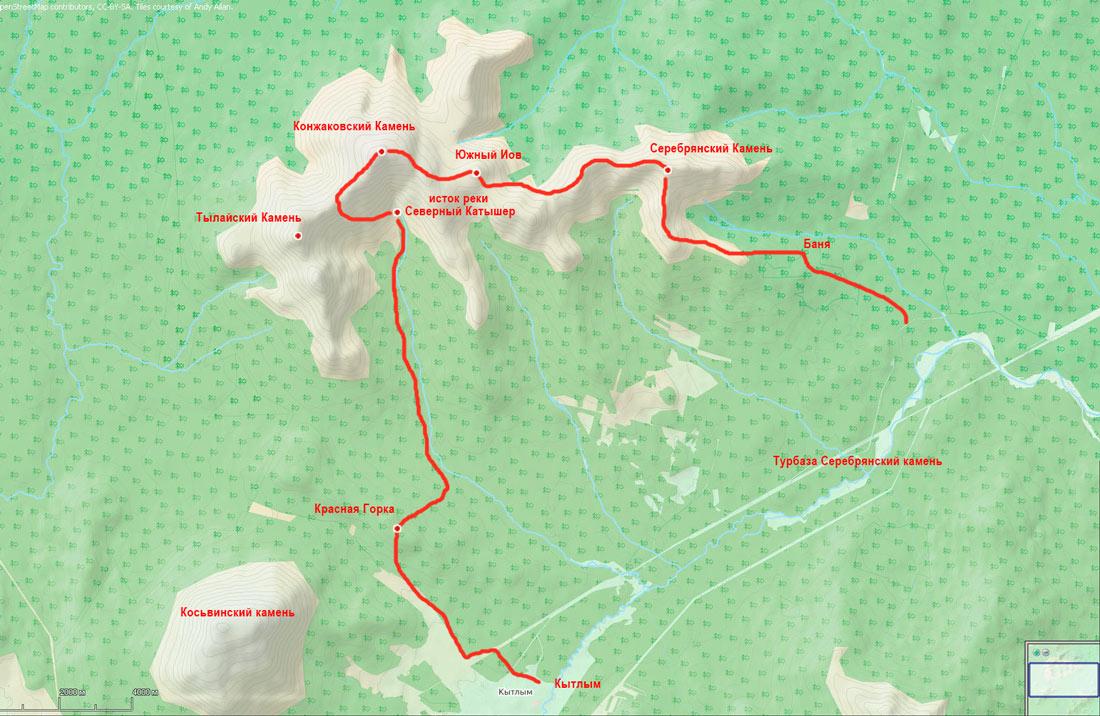 Карта поход по Конжаковскому массиву зима 2020г