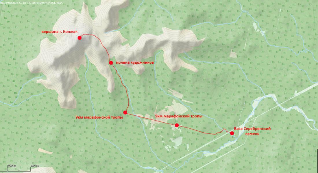 лыжный поход на Конжак за один день карта