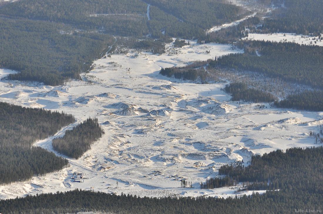 Долина реки Лобва после работ драги Кытлым