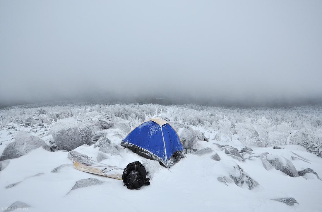Ночевка на Косвиньском камне зимой
