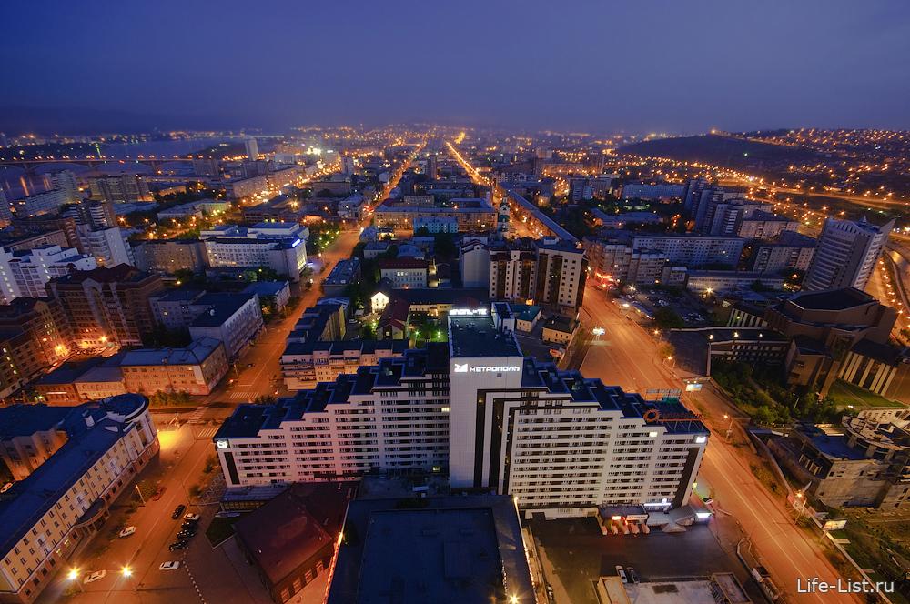 Красноярск с высоты фото Виталий Караван центр города вечер проспект Мира