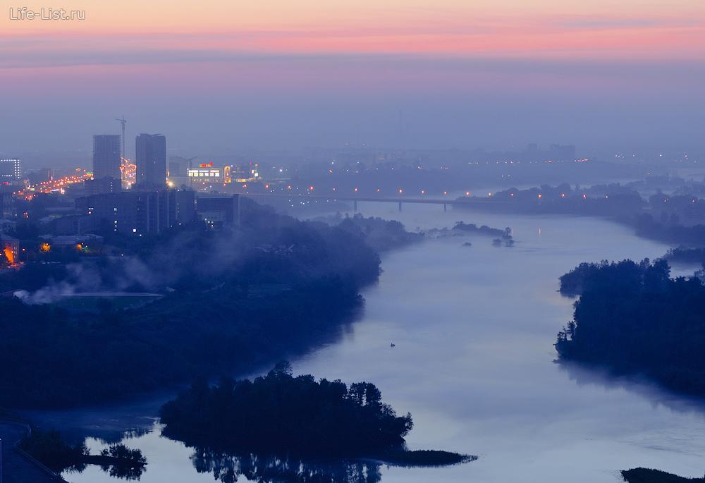 летний утренний красноярск с высоты октябрьский мост