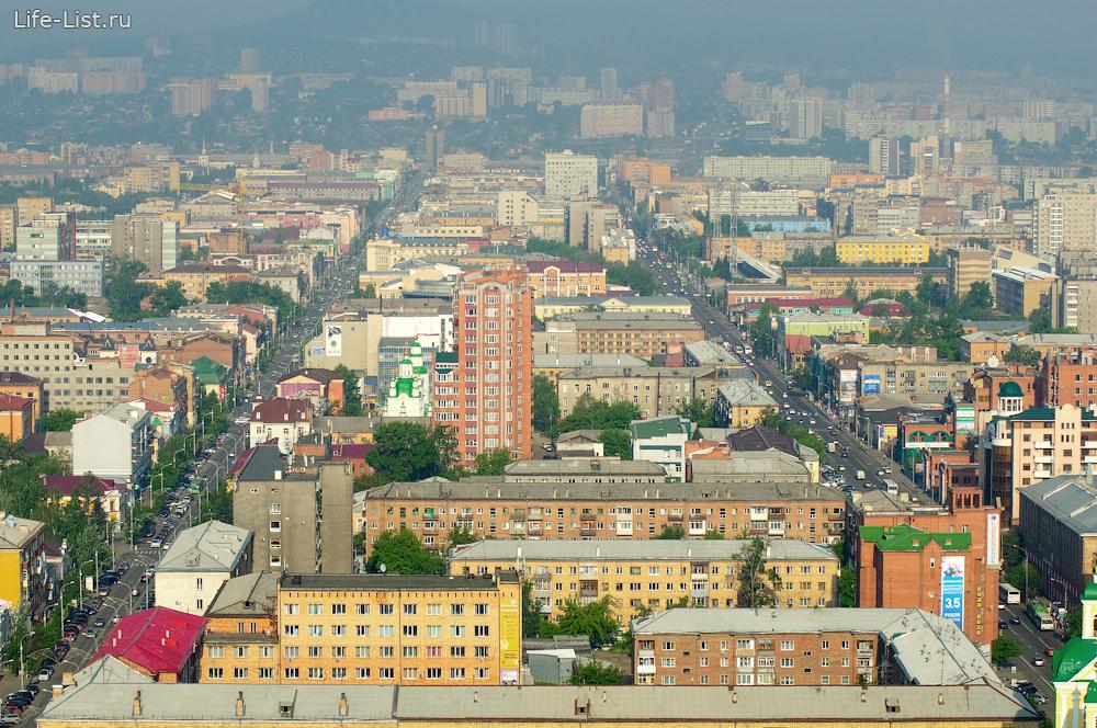 Красноярск с высоты улица Ленина проспект Мира