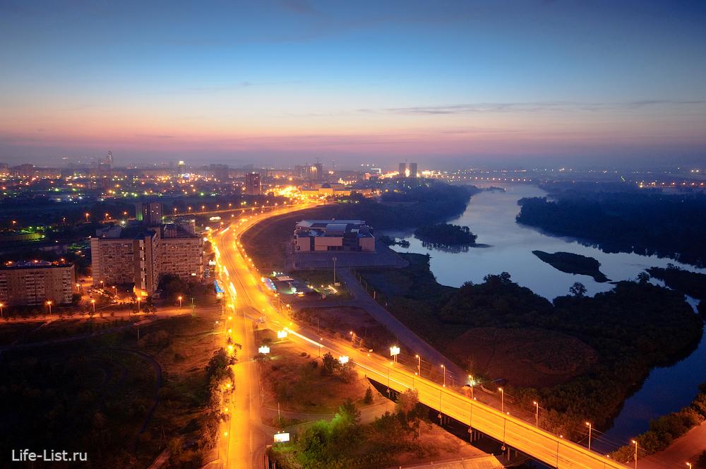 Красноярск с высоты улица Белинского фотограф Виталий Караван остров Татышев