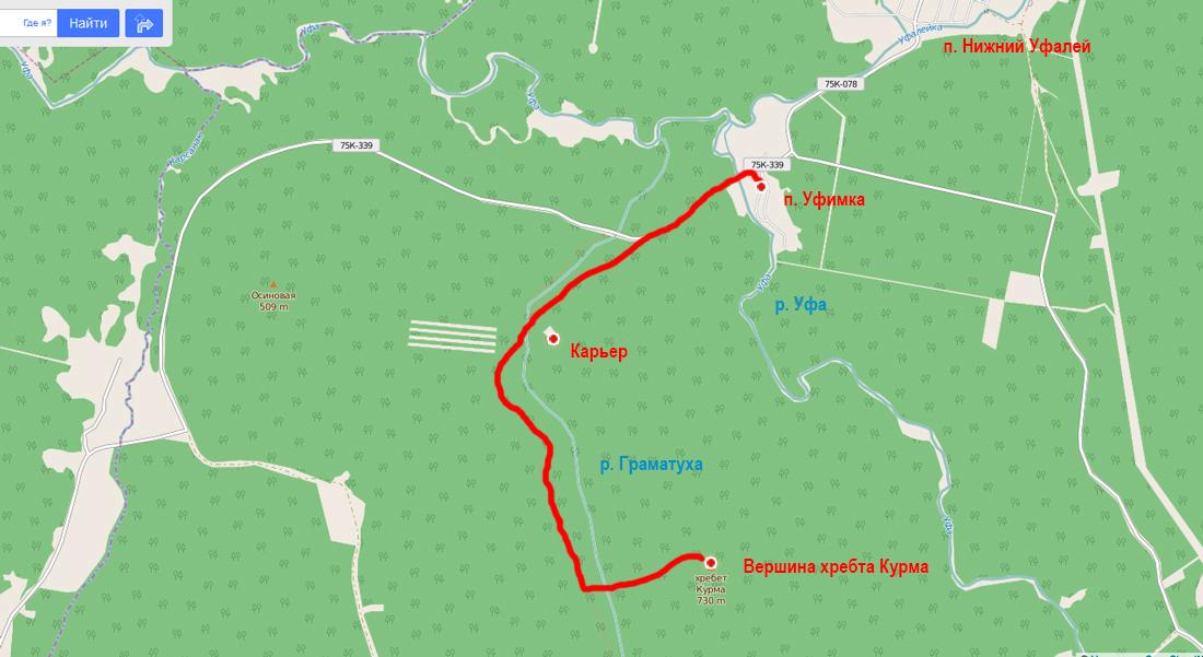 Схема пешего пути на гору Курма