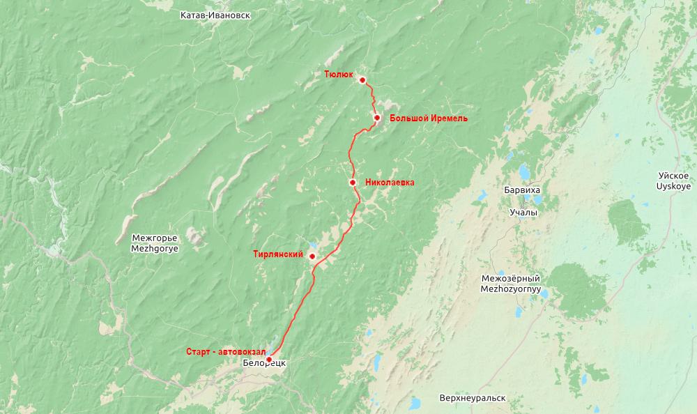 Беговая многодневка по Южному Уралу 2016 карта день 1