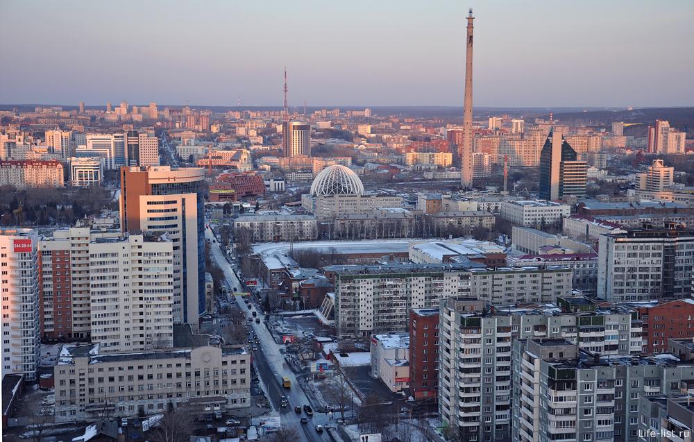 Центр Екатеринбурга с высоты