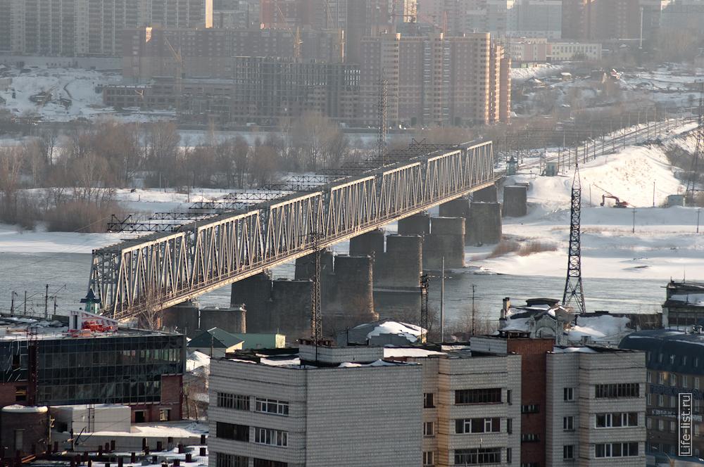 железнодорожный мост с высоты в Новосибирске