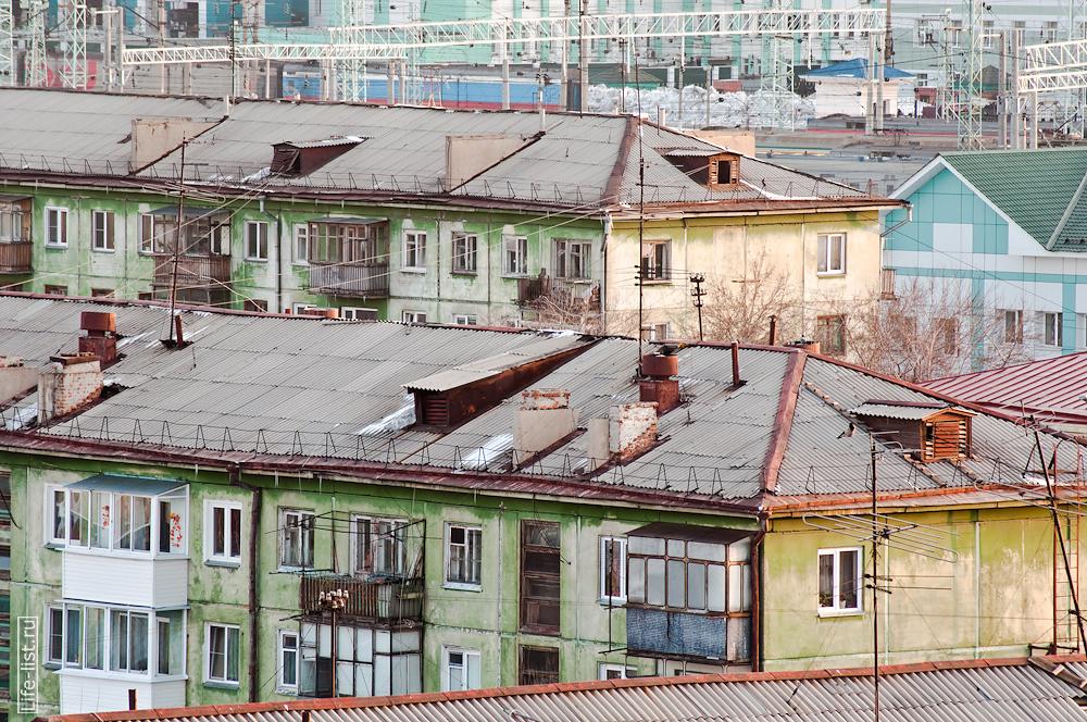 Жилые пятиэтажки эпохи Хрущева в районе вокзала Новосибирска