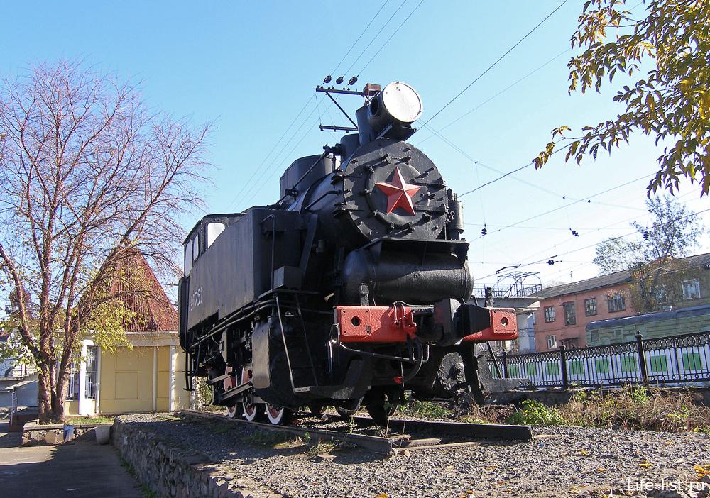 Паровоз в Перми у вокзала пермь-1