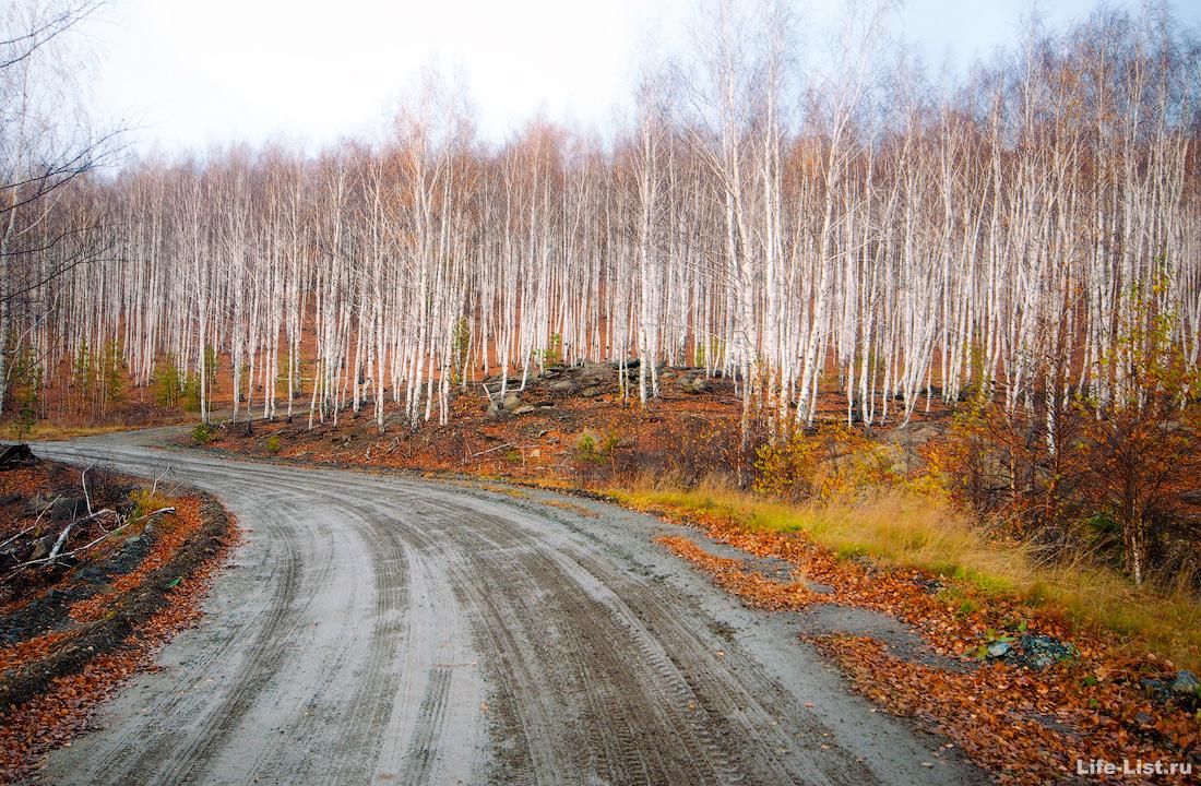 дорога на гору Юрма осень Южный Урал