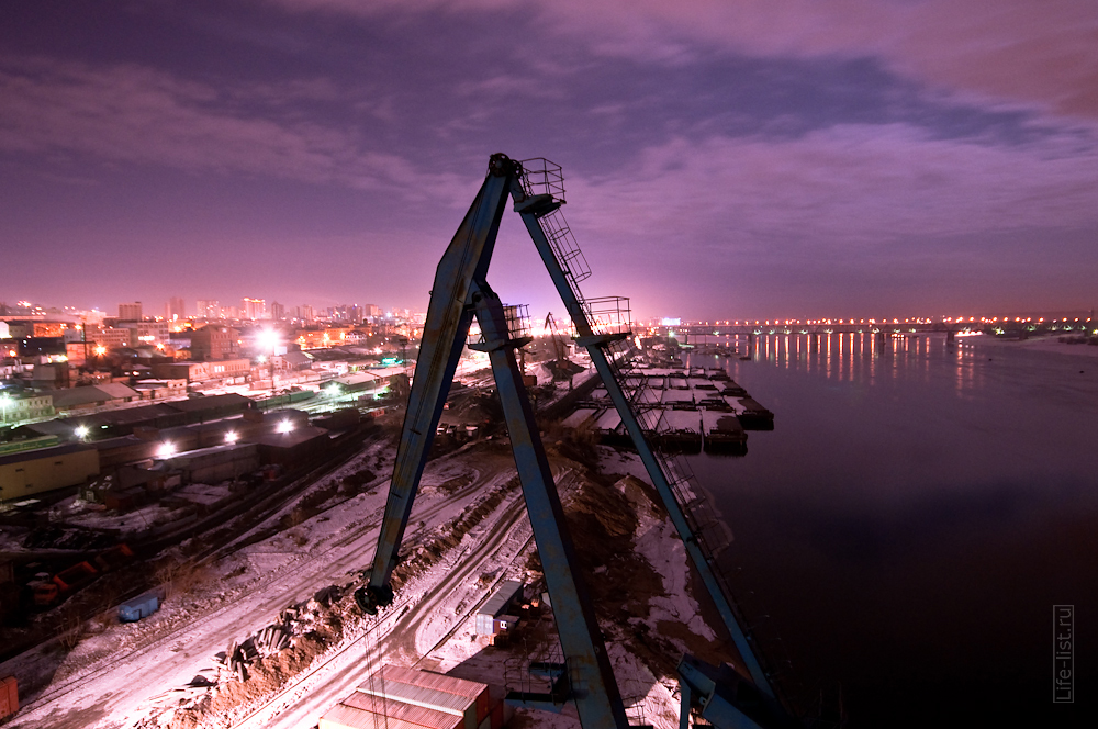 речной порт ночное фото Новосибирск