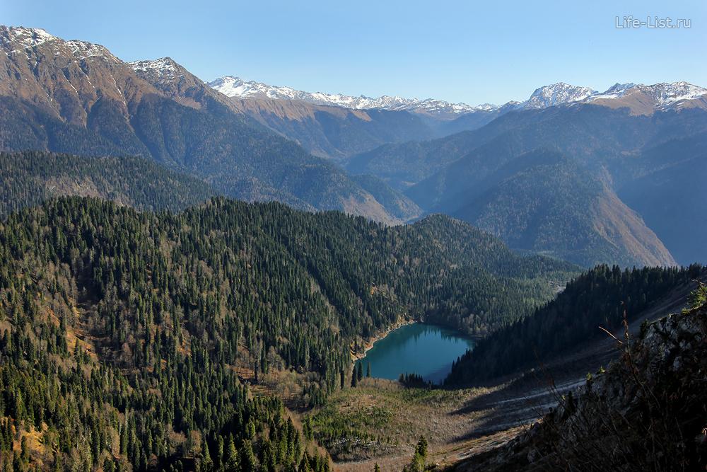 Озеро малая Рица с высоты Пшегишхва Абхазия горы