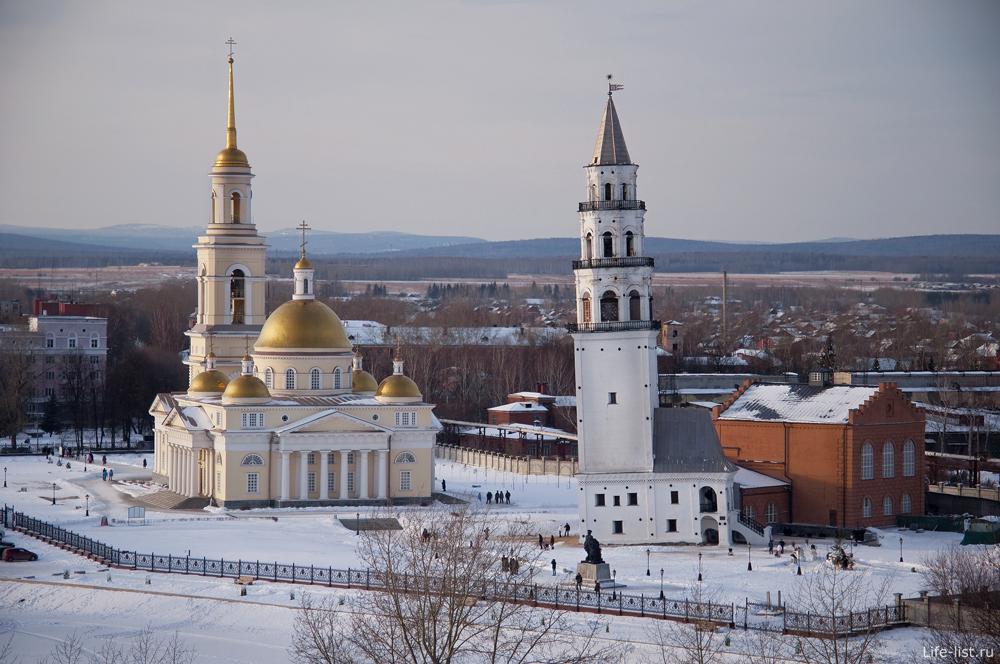 Невьянская башня и собор Спаса преображения