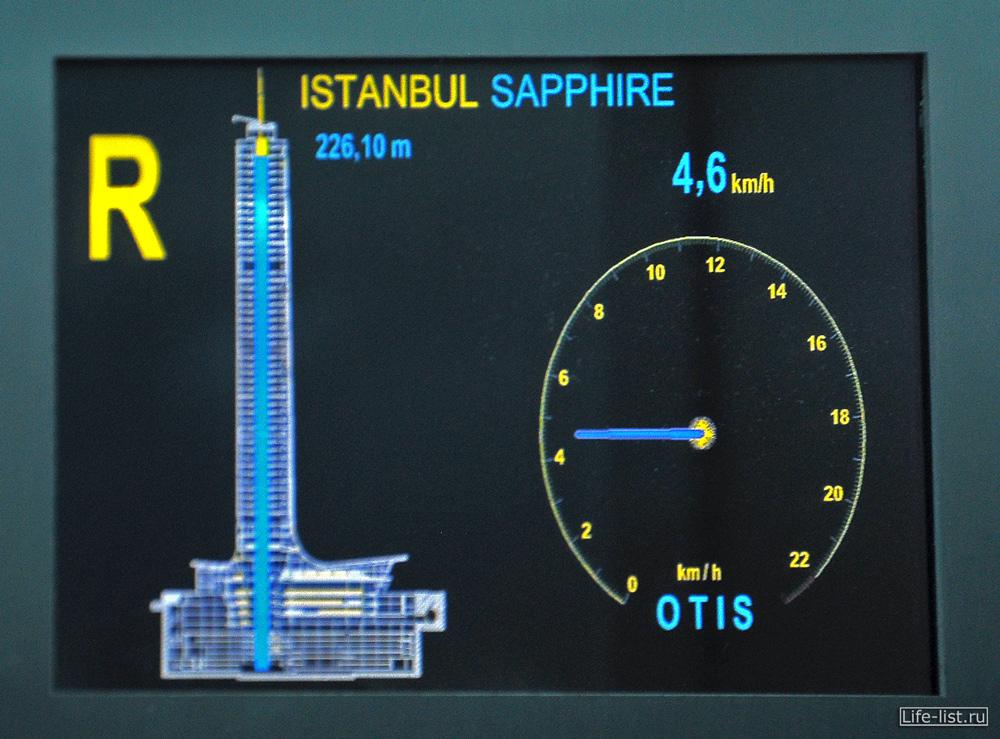 Лифт в небоскребе Cтамбул Сапфир