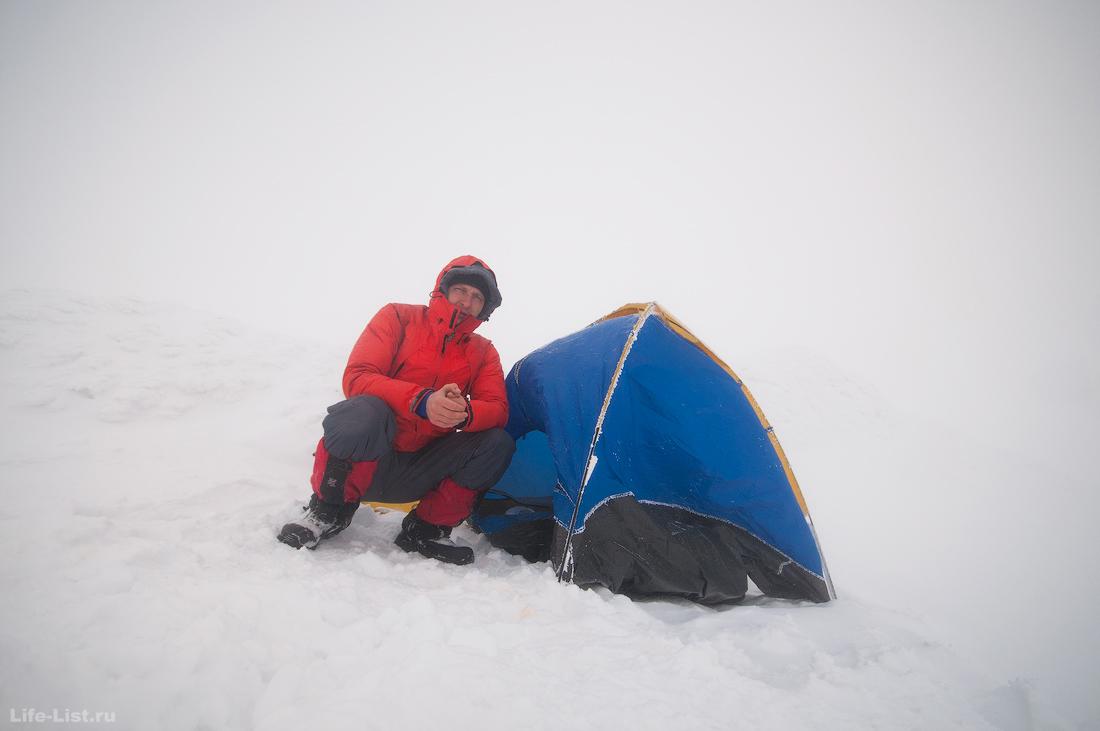 ночевка в палатке на вершине Конжака зима 2016
