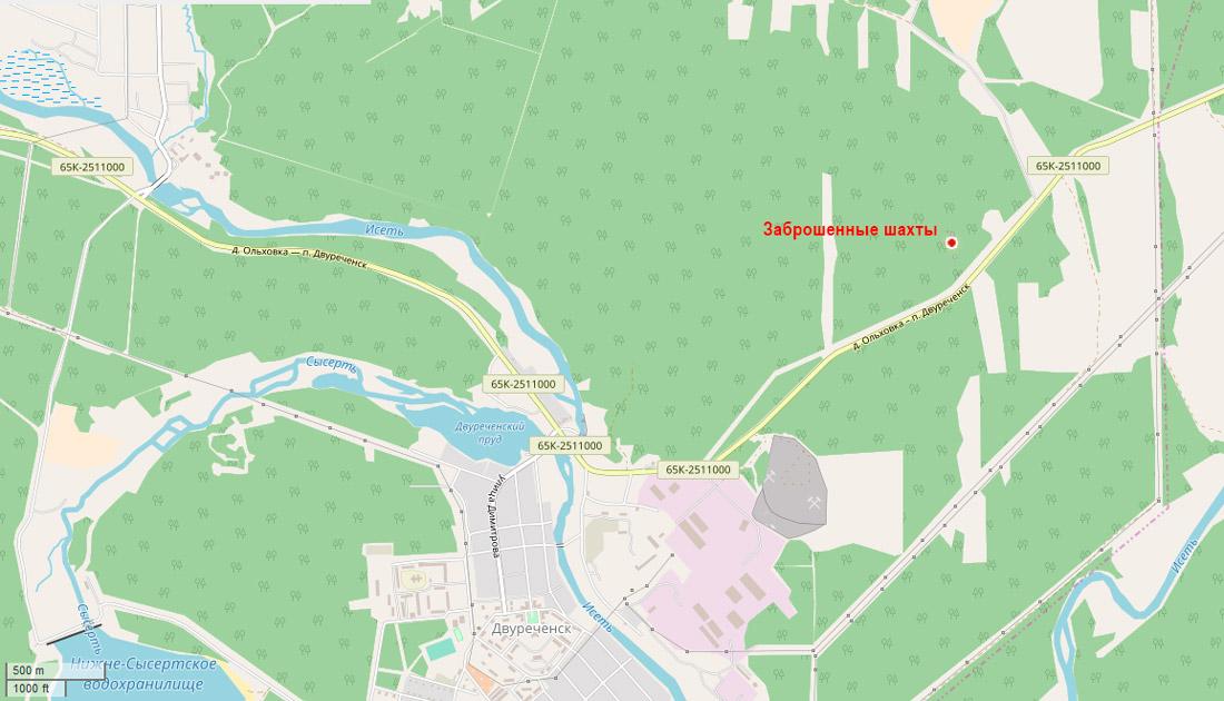 расположение шахты у Двуреченска
