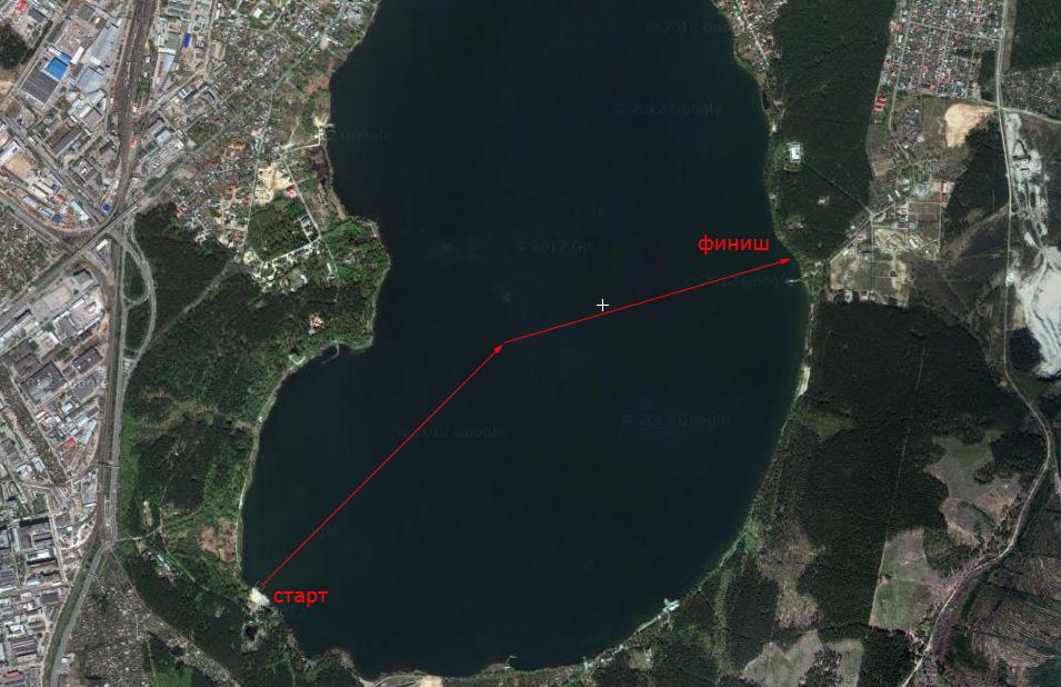 Карта заплыва на озере Шарташ Екатеринбург