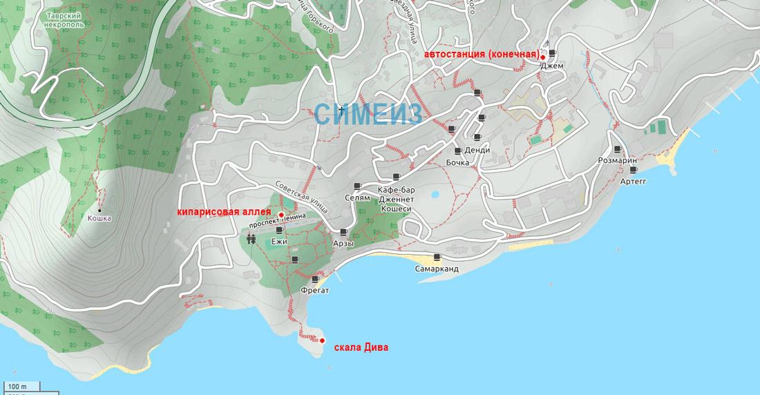 карта симеиз крым