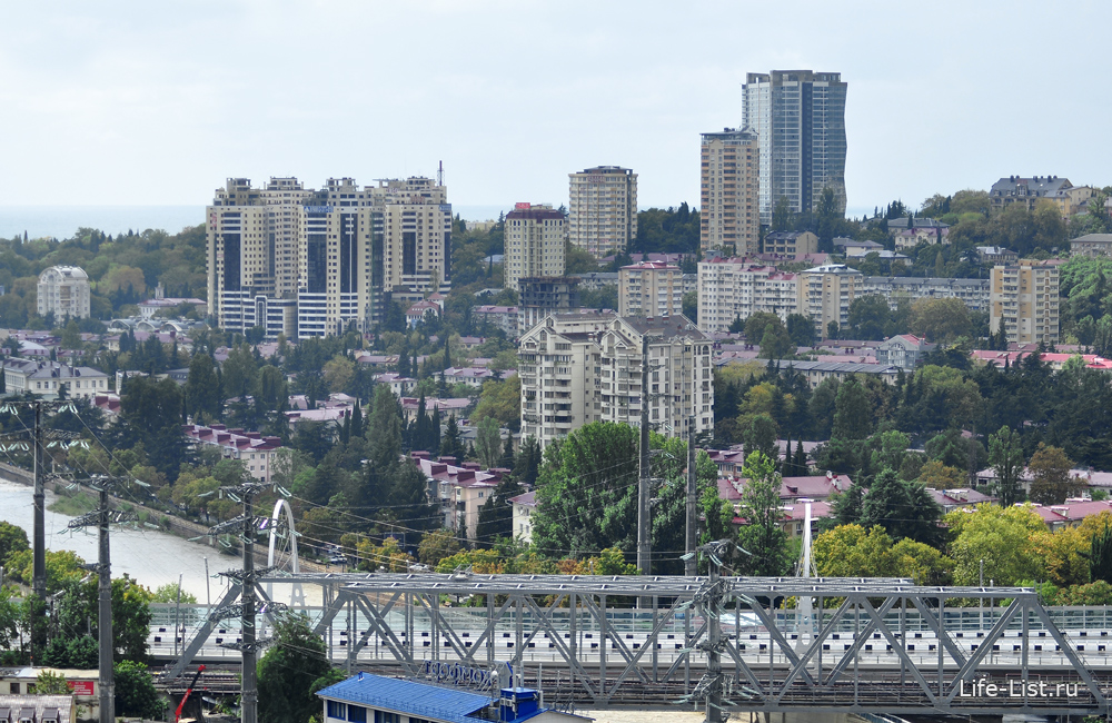 Река Сочи. Железнодорожный и автомобильный мост.