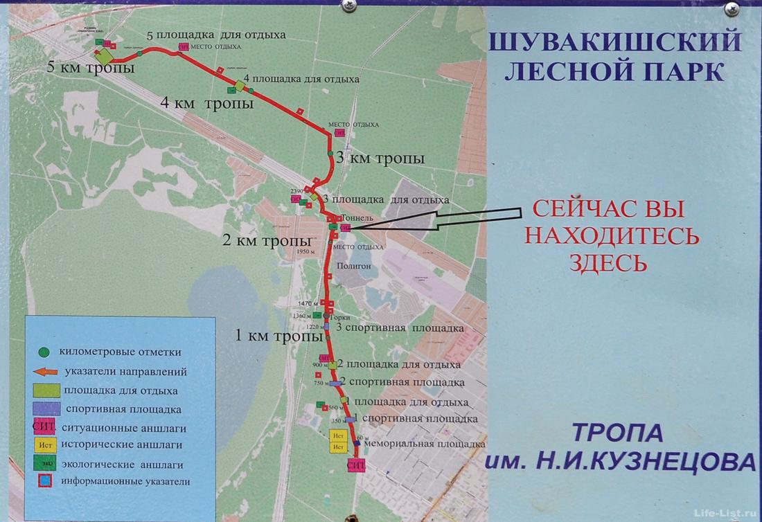 План схема тропы Кузнецова в парке Победа