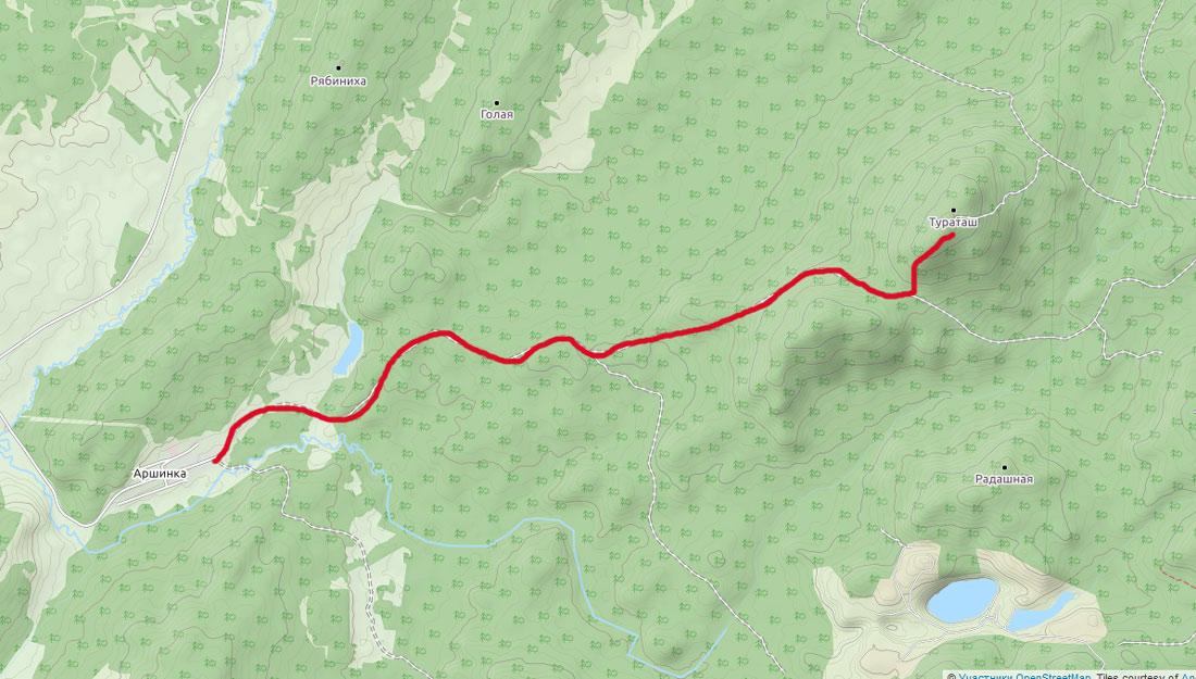 карта дорога на гору Туроташ из деревни Аршинка