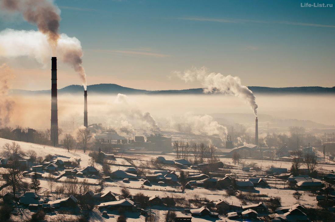 Верхний Уфалей с высоты горы завод УфалейНикель фото Виталий Караван